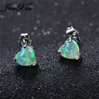 JUNXIN Womens Fire Opal 925 Silver Green Heart Stud Earrings Wedding Engagement