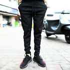 ByTheR Solid Black Urban Stylish Outfit Paisley Embossed Band Slacks Trousers UK