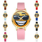 Fashion Women Teen Boy Girls Cute Pink Black PU Leather Analog Quartz Wristwatch
