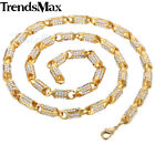 6mm Mens Chain Women Necklace Yellow Gold Filled GF Stick Bead Paved Rhinestones