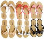 Womens Ladies Millie Loveheart/bows Summer Flip Flops Holiday Shoes Slippers