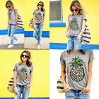 Loose Short Sleeve Casual T-Shirt Top Blouse New Leisure Women Pineapple Printed