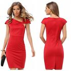 New Women Short Sleeve Office Bodycon Party Evening Cocktail Mini Pencil Dress