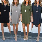 Women Long Sleeve Dresses Ladies Fashion V Neck T Shirt Loose Short Dress Tops