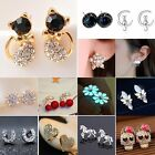 Mini Flower Cat Crystal Rhinestone Ear Stud Earrings Wedding Women Lady Jewelry