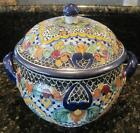 Mexican Talavera Tureen Blue Flowers in Medallions Net & Marigolds La Corona 106