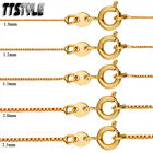 TT 18K Gold Filled Box Chain Round Clip Width 0.8-1.5mm Length 35-60cm (CF103)