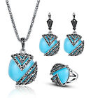 3PCS Sale Women Vintage Blue Jewelry Sets Bib Necklace Earrings Ring