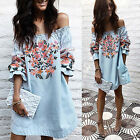 Women Off Shoulder Casual Frill Tops Ladies Loose Summer Embroidery Shirt Blouse