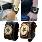 Luxury Men Watch Retro Punk Rock Brown Big Wide Leather Cuff Bracelet WristWatch