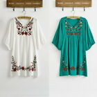 Vintage 70s Ethnic Floral Embroidered Peasant Hippie Mexican Blouse Dress Tops U