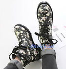 Stylish Women Printed Flower Lace Up Ankle BOOTS Hikking Walking Shoes HOT Korea