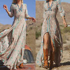 Boho Stylishi Women's Casual 3/4 Sleeve Floral Evening Party Beach Long Dress