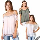 Women Ladies  Summer Strappy Boho Loose Cut Out Off Shoulder Blouse Top Shirt
