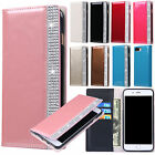 Glossy Book Style Bling Glitter Rhinestone Flip Wallet Case Folio Leather Cover