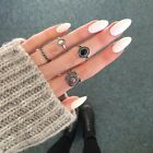4Pcs/set Women Charm Vintage Silver/Gold Gem Midi Above Knuckle Band Rings Gift