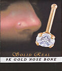 9K Solid Real Gold Clear CZ Prong Nose Bone Stud 24g 1.5mm Or 2mm Size Gem #322