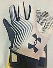 NWT MEN'S 1226963 101 UNDER ARMOUR BLUR II WHITE/NAVY  FOOTBALL GLOVES