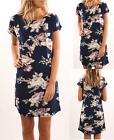 UK Sexy Womens Floral Short Sleeve Beach Mini Dress Summer Dresses Sundress 6-16