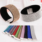 New Retro Women Girl 12 Rows Leather Magnetic Crystal Bracelet Cuff Bangle Lot
