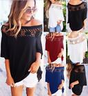 UK Sexy Womens Lace Off Shoulder Blouse Top Summer T-Shirt Beach Tops Blouses