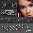 10PCS Nose Ring Surgical Steel Thin Gem Crystal Screw Nose Stud Body Piercing