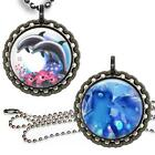 Graceful Dolphins Bottle Cap Necklace with Chain Handcrafted Kid's Jewelry