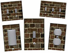 BROWN BRICKS WITH GREY MORTAR PRINT HOME WALL DECOR LIGHT SWITCH PLATE