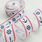 10Yards Anchor  Steering Wheel Sailboard 1* Grograin Ribbon Bows Appliques Craft