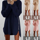 New Knitted Zipper Sweater Dress Long Sleeve Women Loose Warm Sweaters Dresses