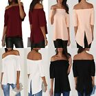 Womens Ladies Off Shoulder Blouse Strapless T-Shirt Casual Loose Tee Tops Party