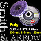 "2/ 4/ 20 x 100mm 4"" POLY STRIP DISC WHEEL PAINT RUST REMOVAL CLEAN ANGLE GRINDER"