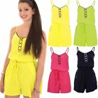 Ladies Pom Pom Hem Casual Boho Flare Cami V Neck Jersey Sleeveless Playsuit