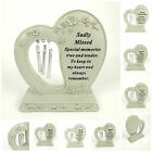 Diamante Heart Chime Grave Plaque Ornament Tribute Cemetery/Crematorium Memorial