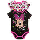 Disney Baby Girls Black Fuchsia Minnie Figure Print 2 Pc Bodysuit Pack 3-9M