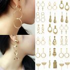Elegant Women Gold Hook Earrings Ear Stud Long Dangle Hoop Jewelry Gifts