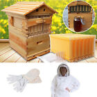 Auto Directly Flow Honey Bee Hive 7 Frames Beekeeping Super Brood Box Whole Set