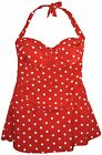 New NWSC Women's Plus Size Retro Swimdress Swimsuit 18 20 22 24 Red Dot