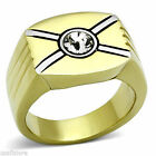 Crossing Tutone 5MM Clear Top Crystal Stone Mens Gold EP Ring