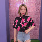 Women Bear Print Embroidery Shirt Short Sleeves Lapel Blouse Fashion Tops Summer