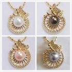 10mm White /Pink /Gray /Brown Akoya Shell Pearl Round Bead Pendant Necklace AAA+