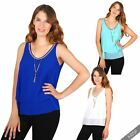 Womens Ladies Layered Chiffon Swing Flared Vest Tank Top Summer Party Blouse