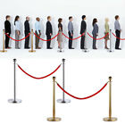 2 Stainless Steel Stanchion Posts w/Red Velvet Rope Queue Barrier Gold/Silver