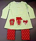 New Girl's Size 4 Outfit Bailey Boys Tunic Pant Set Presents Red White Green NWT