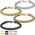 "316L Stainless Steel Men's 9"" Round Spiga Chain Bracelet (Choose Color)"