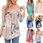 Women Long Sleeve Floral Printed Tops Off the Shoulder Casual Loose Blouse Shirt
