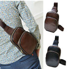 Men's Leather Chest Cycle Sling Pack Satchel Shoulder Bag Small Day Packs Purse