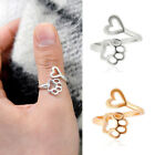 Stylish Dog Paw Print Love Heart Ring Open Adjustable Ring Animal Jewely Gift
