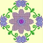 Anemone Quilt Squares 3- DESIGN 6- Anemone Machine Embroidery Singles In 4 Sizes