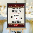 Personalised Wedding Post Box Sign Poster Print N200 (Print Only)